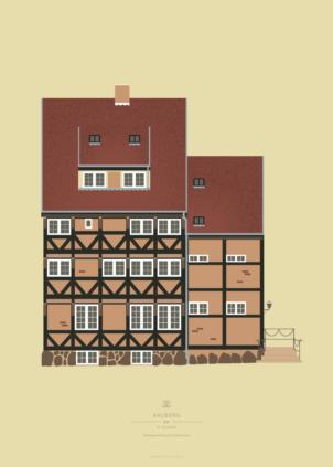 Aalborg Plakat | Bindingsværkshus på Lindholmsstien | Aalborg - Byen Vi Elsker